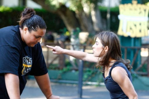 Jillian Michaels points at a contestant on The Biggest Loser
